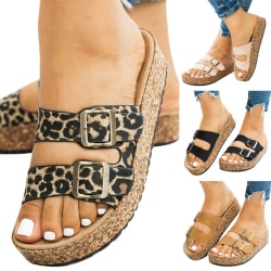 Womens Sandals Platform Casual Mule Summer Slip-on Slippers Leopard 37
