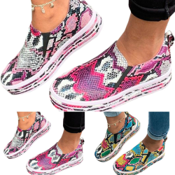 Womens Snake Print Pumps Flat Slip On Walking Casual Shoes Sizes Multicolour 37