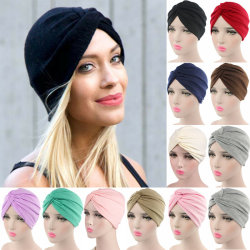 Womens Solid Bowknots Turban Indian Caps Bandana Head Wrap Hats Black