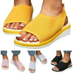 Womens Summer Flats Espadrilles Slippers Sandals Yellow 41