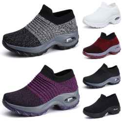 Womens Trainers Air Cushion Breathable Slip On Running Gym Shoes Black Gray 39
