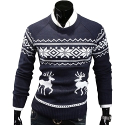 Xmas Mens Novelty Christmas Sweater Retro Vintage Snowflake navy L