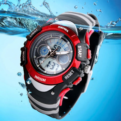 Boys Red Digital Watch Water Resistant Stopwatch Alarm Ages 5-13