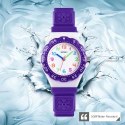 Skmei Kids Girls Children First Watch Easy Time  Learn Purple