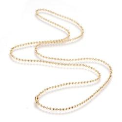 Halskedja kulkedja i stål guldfärg 75 cm