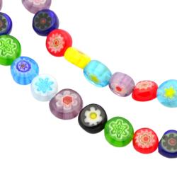 Millefiori pärlor 6 mm - hel sträng - 70 pärlor
