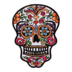 Tygmärke patch Sugar skull - calavera 10 cm vit