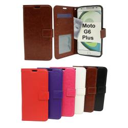 Crazy Horse Wallet Motorola Moto G6 Plus Röd