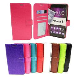 Crazy Horse Wallet Nokia 8 Turkos
