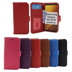New Standcase Wallet Samsung Galaxy A8 2018 (A530FD) Röd