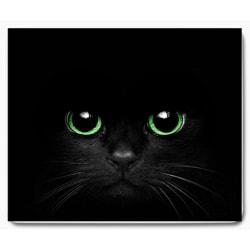 Svart katt med gröna ögon med svart bakgrund 1 - musmatta