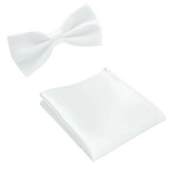 Paket - Fluga och näsduk - Vit vit
