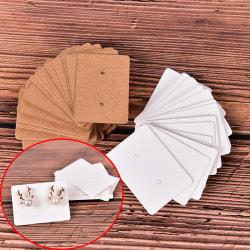 100Pcs Blank Earrings Ear Studs Display Card Hanging Tags Kraft White
