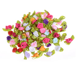 100Pcs Mini Fabric Flowers Heads Handmade Roses DIY Craft For W Colourful 0