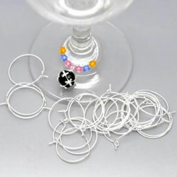 100pcs Wine Glass Charm Rings /Earring Hoops Wedding Hen Party  Silver
