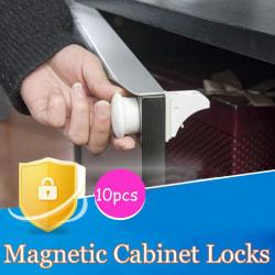 10Pcs Magnetic Cabinet Drawer Cupboard Locks Child Kids Proofin