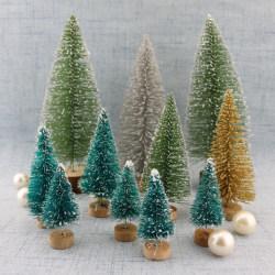 10Pcs Mini Christmas Tree 4.5CM Small Santa Claus Decorations f Olive