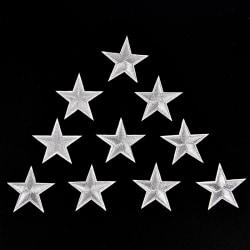 10st Silverstjärnor Broderade märken Stryk på lappar Motiv App Silver 4.6cmx4.6cm
