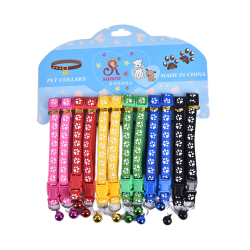 12PCS Dog Collars Pet Cat Puppy Buckle Nylon Collar with Bell 6 one size