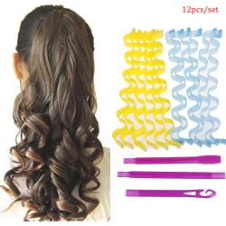 12Pcs Portable Magic Long Hair Curlers Curl Maker Rollers Spiral 30CM
