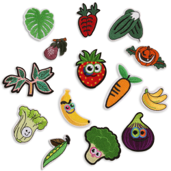 14PCS / Set broderad fruktjärn på sy på lappar Badge tyg Multicolor