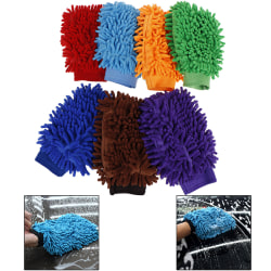 1Pc Soft car wash washing microfiber chenille mitt cleaning glo Coffee