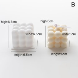 1pcs Silicone 3D Candles Mould Cube Soy Candle Mold DIY Aromath B
