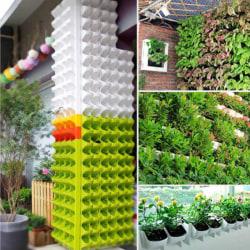 2-Pocket Self Watering Stackable Vertical Garden Wall Hanging P Green S