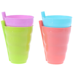 2 x Children Sip a Cup Tumblers with Built in Straw Plastic Sip one size