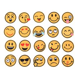 20 X Emoji Emotion Brodery Iron On Applique Patch Sticker Se Yellow 4.9cm