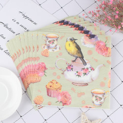 20pcs Flower and Bird Decoupage Napkin Paper Tissue for Xmas Wed one size