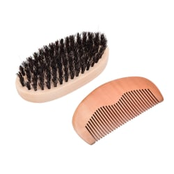 2x/set Boar Bristle Beard Brush and Handmade Beard Comb Kit for