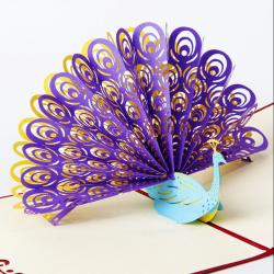 3D Pop Up Hälsningskort Påfågel Födelsedag Påsk Jubileum Mot