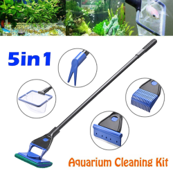5 in 1 Aquarium Cleaning Tools Aquarium Tank Fish Net Gravel Ra