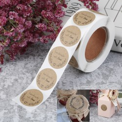 500pcs Handmade With Love Kraft Paper Stickers Round Adhesive L one size