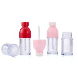 5st bärbar dryckesflaskformad tom läppglansrör Cosme Pink