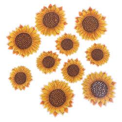 5st solros sy på / stryk på broderad patch diy hantverk tyg A