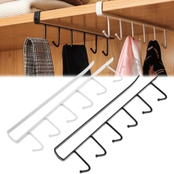 6 Hooks Metal Under Shelf Mug Cup Cupboard Kitchen Organiser Ha White