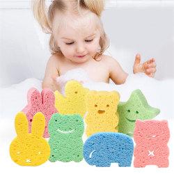 Baby Kids Bath Brushes Sponge Animal Pattern Children Shower Pr Multi 10*7.5cm