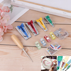 Bias Tape Maker Kit Set for Sewing Quilting Awl and Binder Foot one size