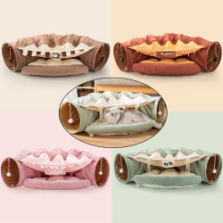 Cat Tunnel Tube Pet Interactive Play Ball Toy Ferrets Sleep Bed  Brown