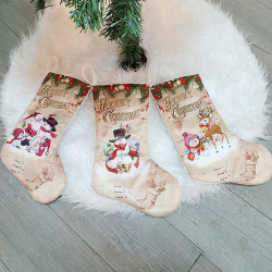 Christmas Stockings Fabric Santa Claus Sock Gift Kids Candy Bag A
