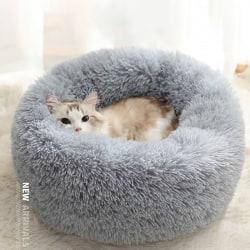 Comfy Calming Dog/Cat Bed Round Super Soft Plush Pet Bed Marshma Dark gray M
