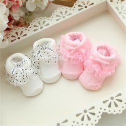Cotton Christmas Warmers Newborn Baby Kids Non-slip Lace Socks S White 0-6Months/8CM