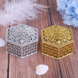 Creative plastic hexagon candy box wedding vintage chocolate gi Silver