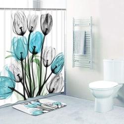 Decor Tulip Bathroom Rug Set Waterproof Polyester Fabric Bathro 180*200 curtain