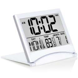 Digital Travel Alarm Clock Foldable Calendar Temperature Timer  one size