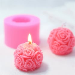 DIY 3D Rose Flowers Ball Silicone Soap Mold Candle Molds Mould  one size