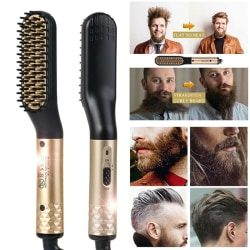 Electric Beard Straightner Brush Men Styling Straightening Heate White US plug