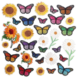 Embroidered Sunflower Butterfly Sticker Iron On Clothes Bags Pa C 18Pcs